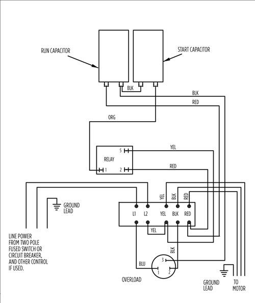 1_hp_wiring_aim content aim manual page 54 single phase motors and controls motor Submersible Well Pumps Diagrams at bakdesigns.co