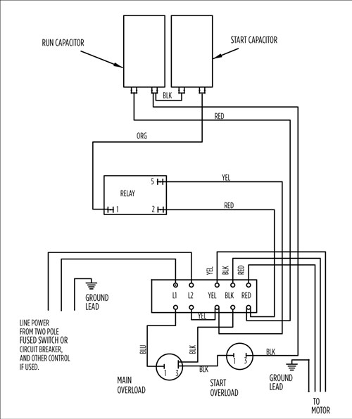 aim manual page 54 single phase motors and controls motor rh franklinwater com baldor 2 hp motor wiring 2 hp motor wiring diagram