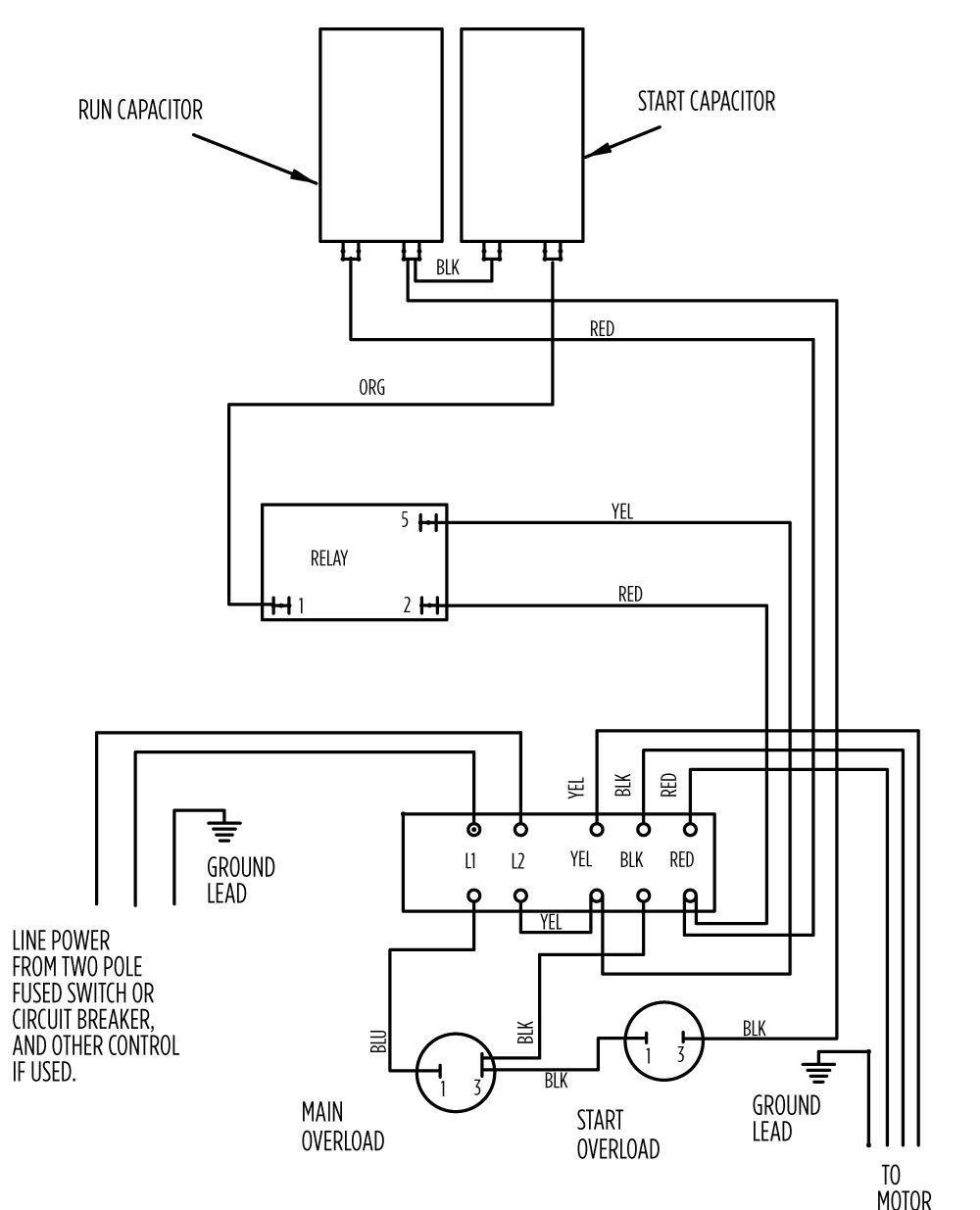 AIM Manual - Page 55 | Single-Phase Motors and Controls | Motor Maintenance  | North America Water | Franklin Electric | Red Box Wiring Diagram |  | Franklin Electric