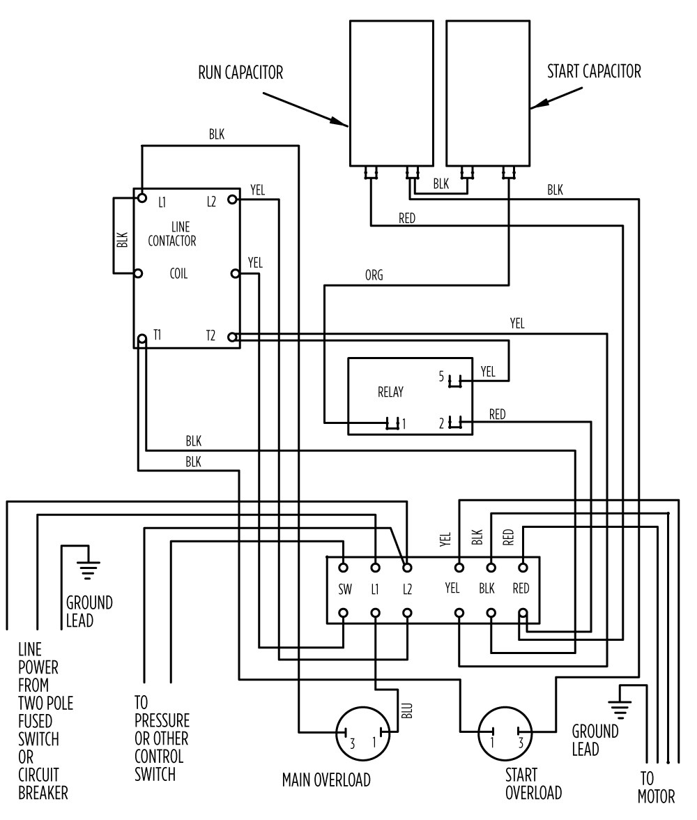 aim manual page 55 single phase motors and controls motor rh franklinwater com The Pump to Submersible Well Pump Wiring Diagram Submersible Pump Wiring Diagram