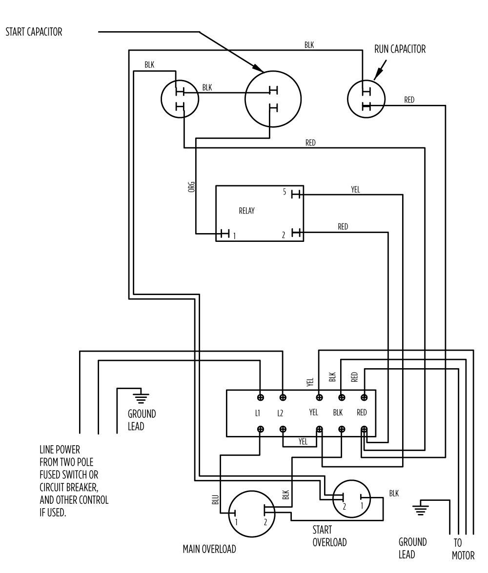 Wiring Diagram Electric Compressor Schematics Diagrams Single Phase 5 Hp Motor For Rh Enr Green Com Embraco Viair