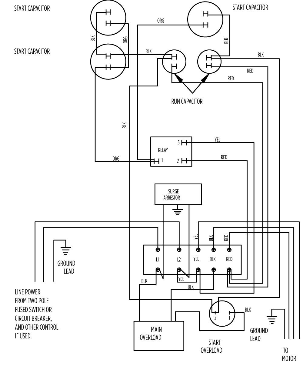 Single Phase Electric Motor Wiring Diagrams Library 30 Breaker Diagram 10 Hp Standard 282 202 9210 Or 9230