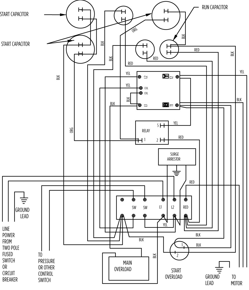 Franklin well pump control box wiring diagram for Electric motor control box
