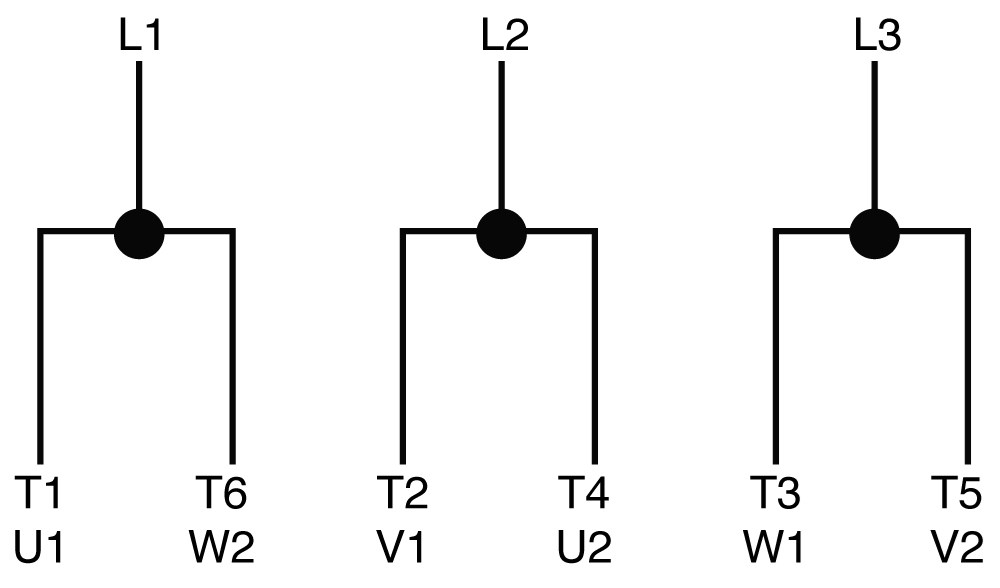 Connections for across-the-line starting running and any reduced voltage starting except WYE-DELTA type starters.